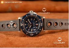 BREITLING SUPEROCEAN 2824 AUTO STEEL CASE WITH BLUE DIAL AND BLACK RUBBER STRAP - 1:1 ORIGIANL (GF)