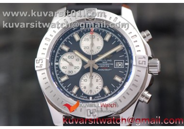 BREITLING CHALLENGER CHRONOGRAPH SS BLACK DIAL ON RUBBER STRAP A7750 (FREE RUBBER STRAP)
