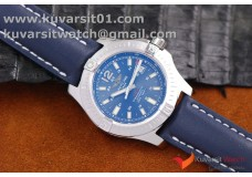 BREITLING COLT AUTOMATIC 44MM SS  BLUE TEXTURED DIAL ON BLACK LEATHER STRAP A2824
