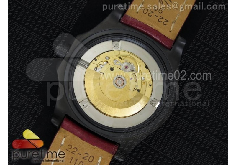 Avenger II GMT PVD Black Dial Arabic Numerals Markers on Red Leather