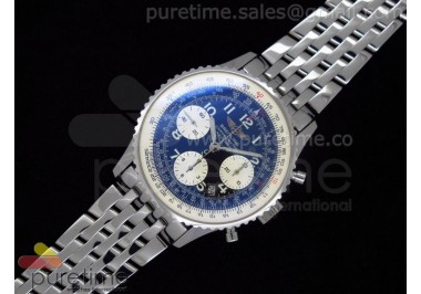 Navitimer Cosmonaute SS Black Dial with White Sub-Dials Number Markers on SS Bracelet A7750