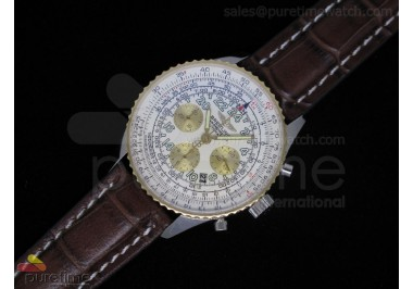 Navitimer Cosmonaute Stainless Steel White Dial Brown Leather A7750