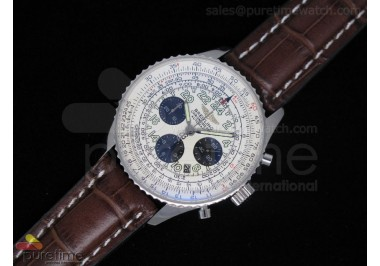 Navitimer Cosmonaute Statinless Steel White Dial Brownl Leather Strap A7750