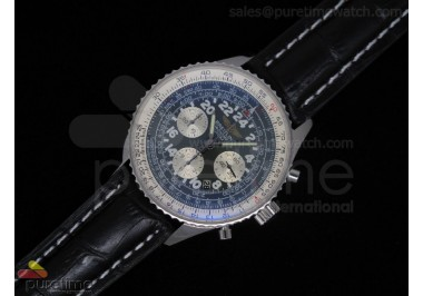 Navitimer Cosmonaute Stainless Steel Black Dial Black Leather Strap A7750