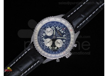 Navitimer Cosmonaute SS Case Grey Dial Black Leather Dial A7750