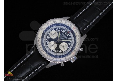Navitimer Cosmonaute Stainless Steel Black Dial Leather Strap A7750