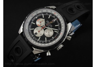 Chrono-Matic 49 SS Black Dial on OR Rubber Strap