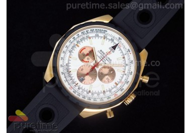 Chronomatic 49 RG White Dial on OR Rubber Strap A7750