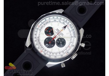 Chronomatic 49 SS White Dial on OR Rubber Strap A7750